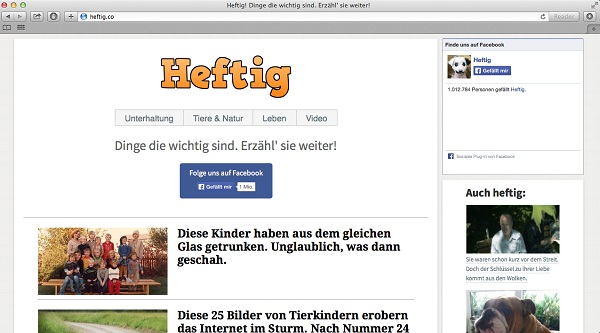 Screenshot der Webseite heftig.co.